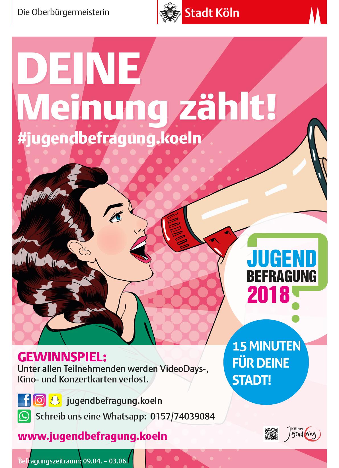 Plakat der Jugendbefragung Köln 2018, Bild: Frau im Pop-Art-Stil
