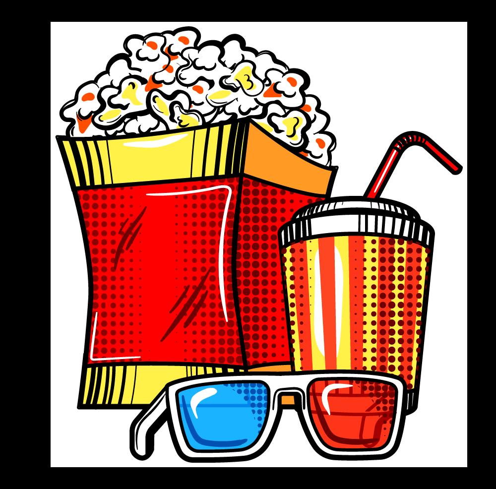 (Bild: Popcorn, Trinkflasche und 3D-Brille im Pop-Art-Stil)